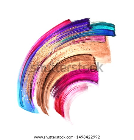 beautiful abstract shape, brush strokes isolated on white background, colorful paint smear, watercolor clip art, makeup palette, fashion illustration, splashing design element. Rose gold, pink, blue
