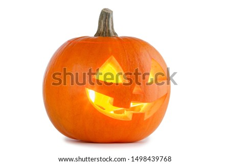 Glowing Halloween Pumpkin isolated on white background #1498439768
