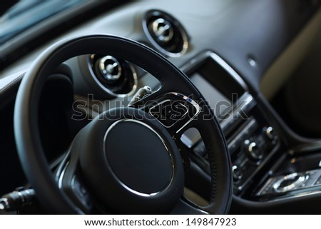 Interior view of car with black salon #149847923
