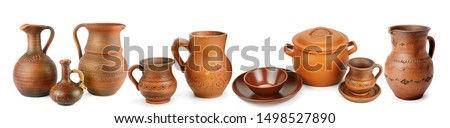 Set of old ceramic pot - kitchen retro equipment of cooking isolated on white background. Panoramic collage. Wide photo with free space for text. #1498527890