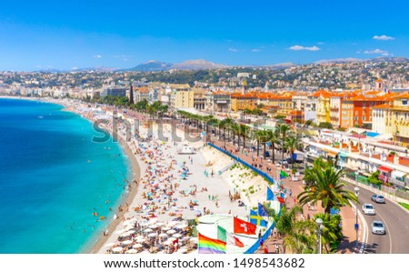 Promenade des Anglais in Nice, France. Nice is a popular Mediterranean tourist destination, attracting 4 million visitors each year Royalty-Free Stock Photo #1498543682