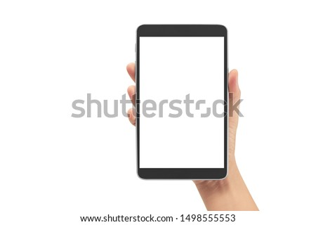 Hands holding a tablet touch computer gadget with isolated screen #1498555553