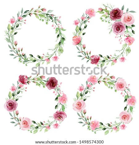 Watercolor flower wreaths. Floral clip art set. Frames perfectly for print on wedding invitation, greeting card, wall art, stickers and other. Isolated on white background. Hand paint design.