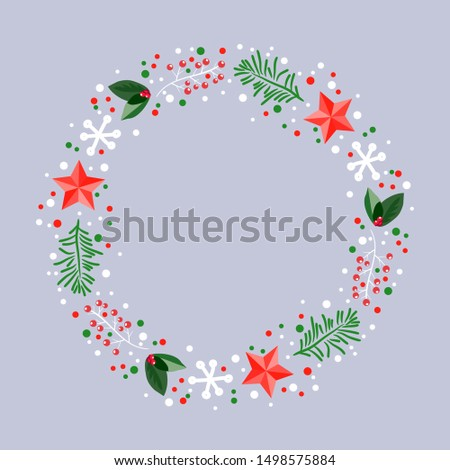 vector christmas holiday design with red star, snowflake, pine tree sprigs and red berries. winter xmas background decoration for happy new year and merry christmas illustrations. round frame border #1498575884
