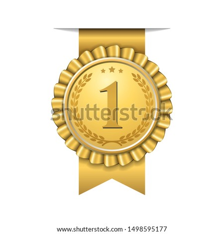 Award ribbon gold icon number first. Design winner golden medal 1 prize. Symbol best trophy, 1st success champion, one sport competition honor, achievement leadership, victory illustration #1498595177