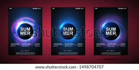 Electronic music abstract background blue. Party poster design showing sound waves. Music background. Circle frame for text.