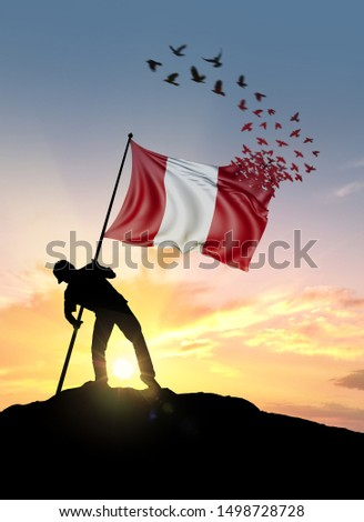 Peru flag turn to birds while being planted by a man on a hill during sunrise. #1498728728