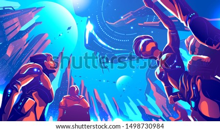 A futuristic illustration in vector of future metropolis on a far away planet. Human colonization, high Technology, science fiction illustration. Royalty-Free Stock Photo #1498730984