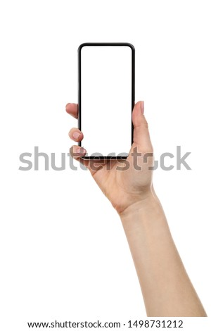 Smartphone in female hand isolated on white background Royalty-Free Stock Photo #1498731212