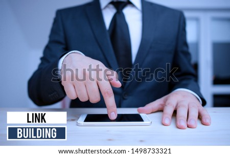 Conceptual hand writing showing Link Building. Business photo showcasing SEO Term Exchange Links Acquire Hyperlinks Indexed. #1498733321