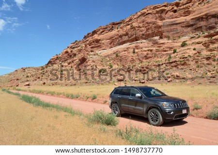 Moab UT, USA on August 16, 2019 : Jeep in Arches National Park. #1498737770