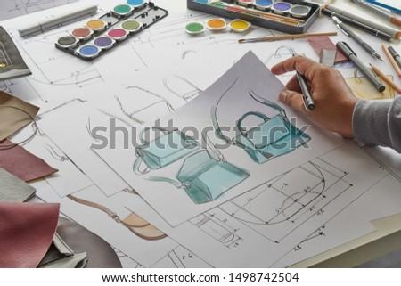 Designer stylish sketch Drawn design template pattern made leather clutch bag handbag purse Woman female Fashionable Fashion Luxury Elegant accessory.                                #1498742504