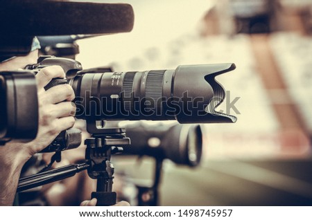 Istanbul, Turkey - August 14, 2019: TV Cameras and photojournalist cameras make report before the UEFA Super Cup Finals match between Liverpool and Chelsea at Vodafone Park in Vodafone Arena, Turkey #1498745957