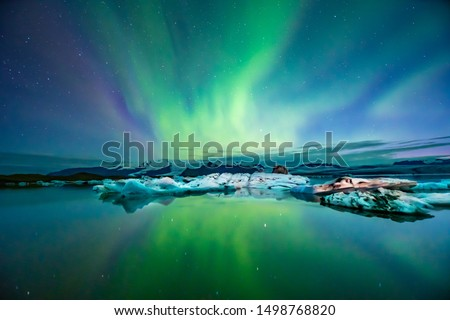 Northern Lights Aurora In Iceland set in the Glacier Lagoon #1498768820
