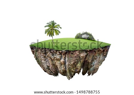 round soil ground cross section with earth land and green grass.  fantasy floating island with natural on the rock, surreal float landscape with paradise concept isolated on white background #1498788755