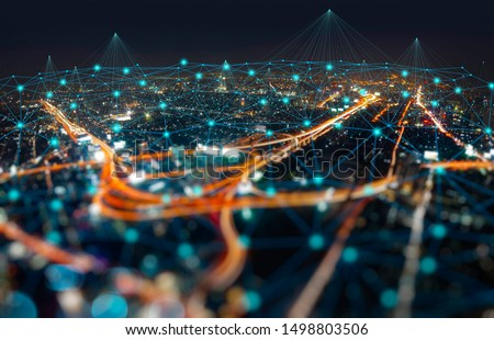 Wireless network and Connection technology concept with Abstract Bangkok city background  #1498803506