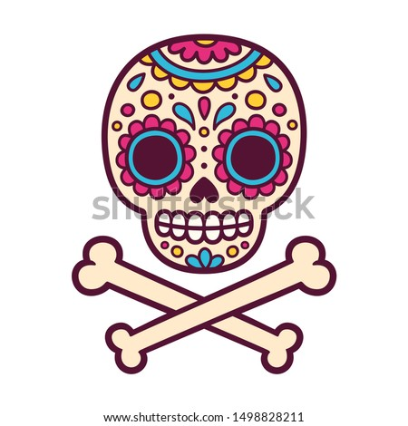 Cartoon Mexican sugar skull illustration for Dia de los Muertos (Day of the Dead). Cute and simple skull drawing with crossed bones.