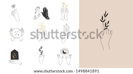 Collection of fine, hand drawn style logos and icons of hands. Fashion, skin care and wedding concept illustrations. #1498841891