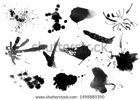 Large set hand drawn water illustration black and white brush stroke for photoshop.Many set and collection of straight line.hard thin round zen Paint Brush.Calligraphy High Detail splatter Background.