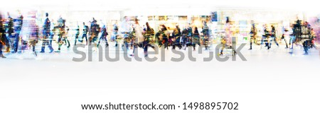 London, UK. Crowd of people walking at work in early morning. Concept wide background with  space for text. Multiple exposure image Royalty-Free Stock Photo #1498895702