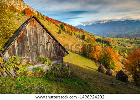 Fantastic autumn alpine landscape, alpine village with rickety wooden hut and high snowy mountains in background near Brasov, Magura, Transylvania, Romania, Europe #1498924202