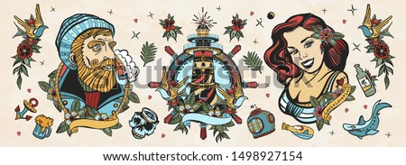 Sea adventure collection. Old school tattoo. Sea wolf captain, sailor girl, lighthouse, anchor, shark and steering wheel. Marine elements. Traditional tattooing style #1498927154