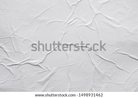 Blank white crumpled and creased paper poster texture background #1498931462
