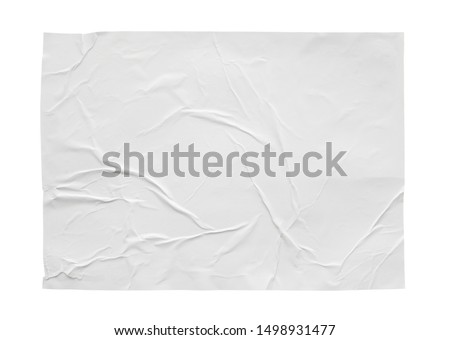 Blank white crumpled and creased sticker paper poster texture isolated on white background #1498931477