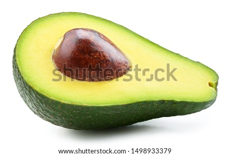 Avocado half isolated on white background. Ripe fresh green avocado Clipping Path #1498933379
