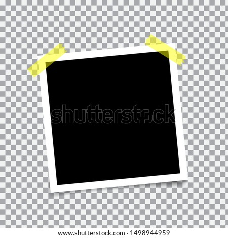 Vector Photo frame mockup design. Photo frame on sticky tape isolated on transparent background. Photorealistic Vector EPS10 Mockups. Retro Photo Frame Template for your photos. Vector illustration. #1498944959