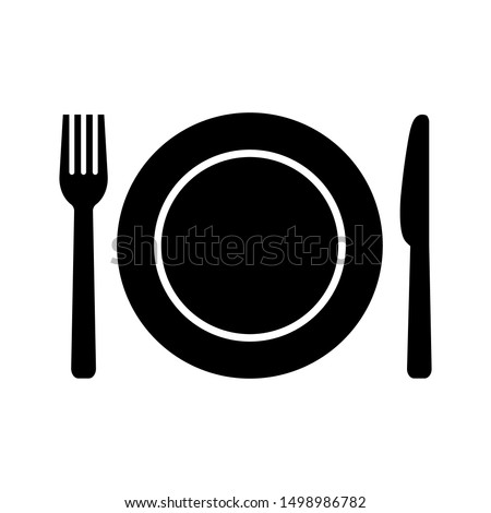 Plate, fork and knife icon in flat style. Food symbol isolated on white background. Bar, cafe, hotel concept. Simple eating icon in black. Vector illustration for graphic design, Web, UI, mobile upp #1498986782