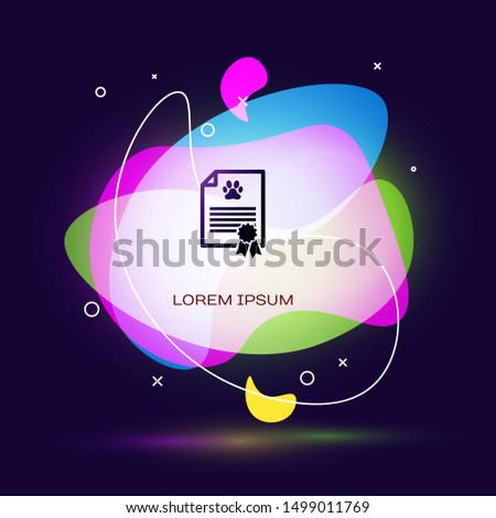Black Medical certificate for travel with dog or cat icon isolated on dark blue background. Document for pet. Dog or cat paw print. Abstract banner with liquid shapes. Vector Illustration #1499011769