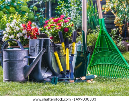 Gardening tools on the grass in the garden. #1499030333