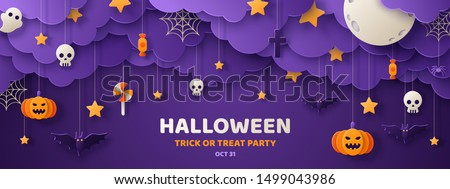 Happy Halloween banner or party invitation background with night clouds and pumpkins in paper cut style. Vector illustration. Full moon in the sky, spiders web and flying bats. Place for text #1499043986