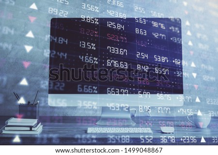 Stock market graph on background with desk and personal computer. Double exposure. Concept of financial analysis. #1499048867