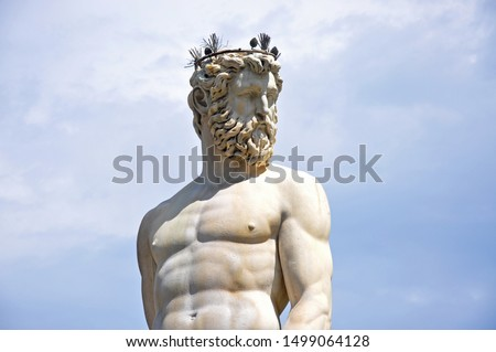 Statue of Neptun in Fontana del Nettuno - Florence Italy