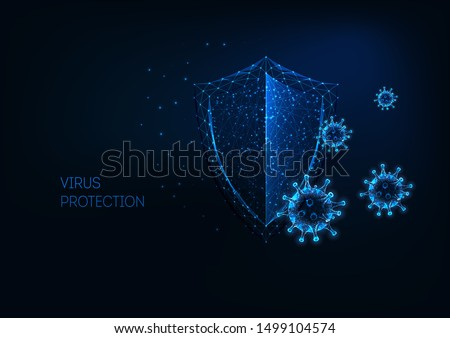 Futuristic virus protection concept with glowing low polygonal shield and virus cells on dark blue background. Antibiotic, vaccination against coronavirus. Modern wireframe design vector illustration. Royalty-Free Stock Photo #1499104574