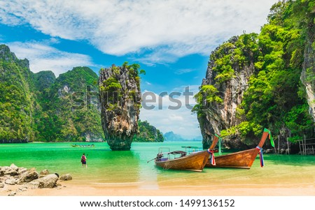 Amazed nature scenic landscape James bond island with boat for traveler Phang-Nga bay, Attraction famous landmark tourist travel Phuket Thailand summer vacation trips, Tourism destinations place Asia #1499136152