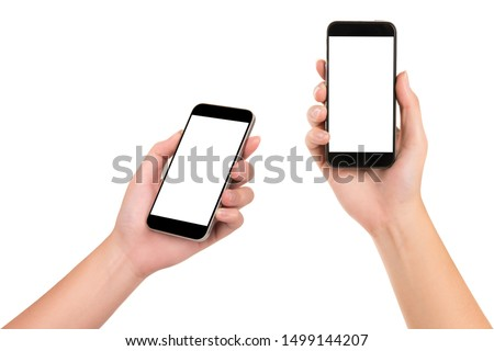Set of woman hand holding smartphone isolated on white background.Close  up. #1499144207