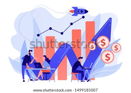 Sales managers with laptops and growth chart. Sales growth and manager, accounting, sales promotion and operations concept on white background. Living coral blue vector isolated illustration #1499185007