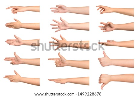 Set of young woman hand isolated on white background. #1499228678
