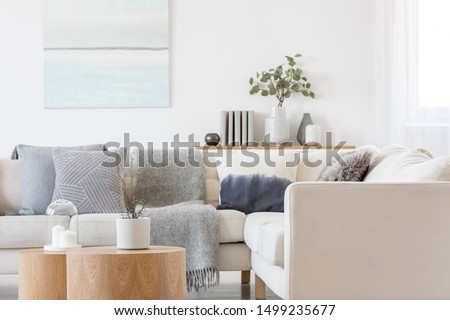 Pastel blue and white abstract oil painting on empty white wall with console table with flowers in vase and books #1499235677