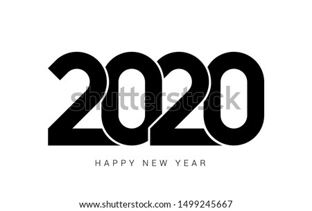 Happy New Year 2020 logo text design. Cover of business diary for 2020 with wishes. Brochure design template, card, banner. Vector illustration. Isolated on white background. #1499245667