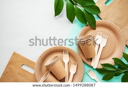 Zero waste, environmentally friendly,  disposable,  cardboard, paper tableware. View from the top. #1499288087