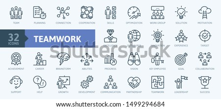 Business teamwork, team building, work group and human resources minimal thin line web icon set. Outline icons collection. Simple vector illustration. Royalty-Free Stock Photo #1499294684