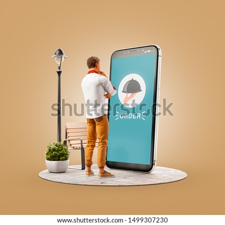 Unusual 3d illustration of a young man standing at big smartphone and ordering food. Food Delivery apps concept. Online restaurant food.