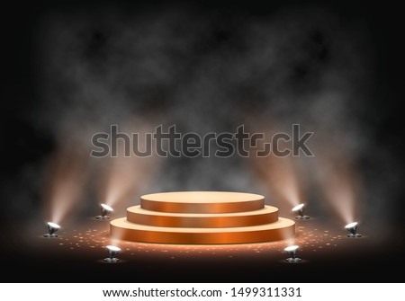 Gold podium on dark background with smoke. Empty pedestal for award ceremony. Platform illuminated by spotlights. Vector illustration. Royalty-Free Stock Photo #1499311331