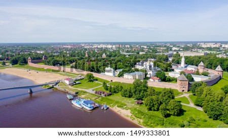 Veliky Novgorod, Russia. Novgorod Kremlin (Detinets), Volkhov River. Flight over the city, From Drone   #1499333801