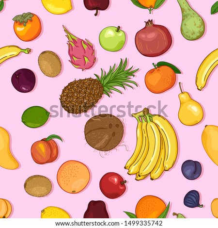 Vector Seamless Pattern of Cartoon Exotic Fruits on Pink Background #1499335742