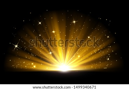 Light effect. Vector shining golden bright light. Gold shine burst with sparkles illustration isolated on black background #1499340671